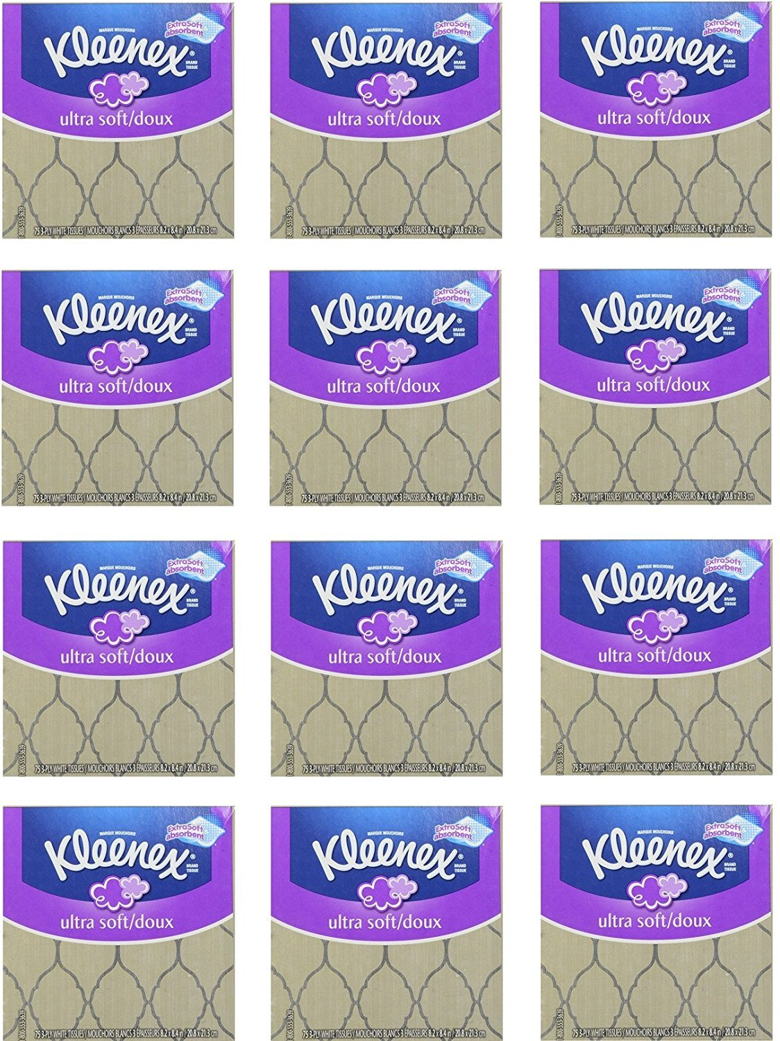 Kleenex Ultra Soft Facial Tissues, Thick and Absorbent & Strong 75, 3-PLY White Facial Tissues, - 12 Cubes Bundle Pack – 900 Total Tissues. Variety of Assorted Colors and Designs.