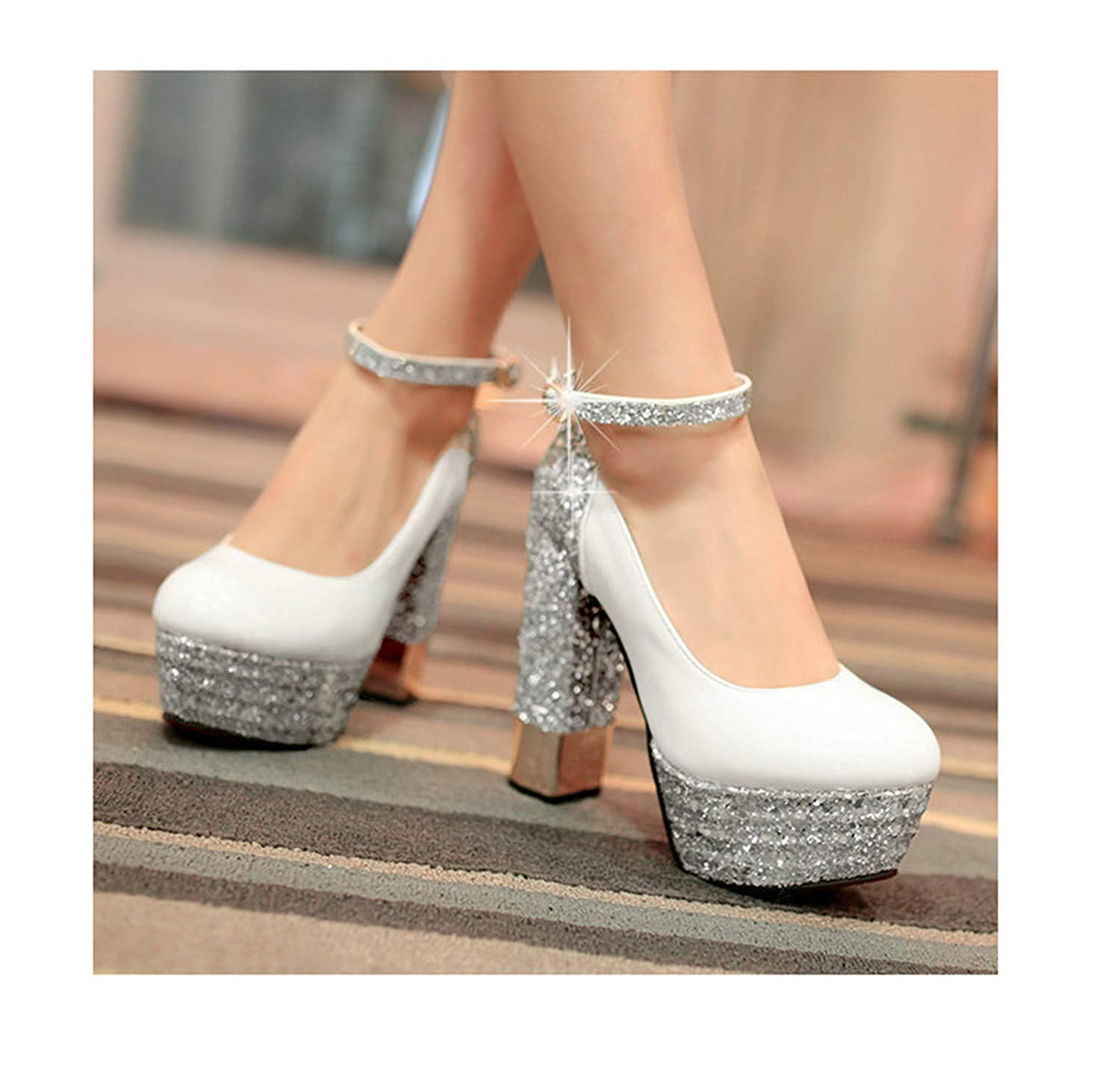 Angshanxia Fashion Platform Pumps Sexy High-Heeled Shoes Heels Round Toe Platform Shoes Women's Wedding Prom Shoes Size32-43 Heel 13cm White 4.5