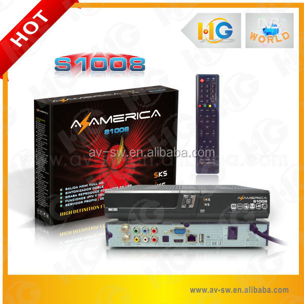 Original azamerica s1008 <strong>satellite</strong> receiver HD 1080p free SKS IKS IPTV decode 22w 30w 61w <strong>satellite</strong> better than Duosat