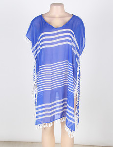 Blue Lace Bust Decorate Sleeveless Batik Casual Summer Dress