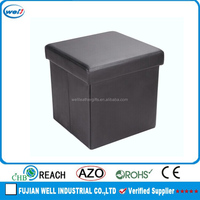 brown pu leather foldable storage stool