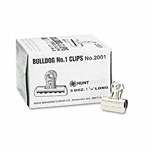 "Boston : Bulldog Clips, Steel, 7/16"" Capacity, 1-1/4""w, Nickel-Plated, 36/box -:- Sold as 2 Packs of - 3 - / - Total of 6 Each"
