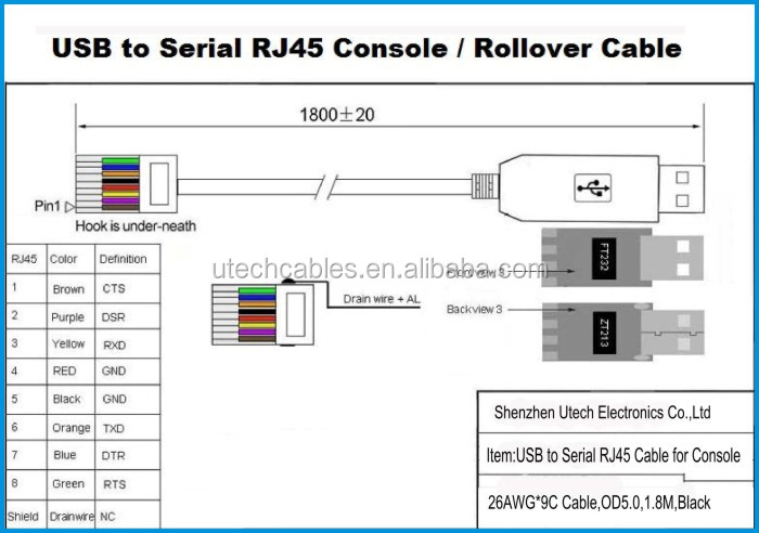 Usb To Rs232 Serial To Rj45 Cat5 Console Adapter Cable For