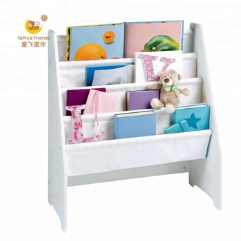 Kids Wooden Bookshelf Canvas Magazine Shelf White Rack