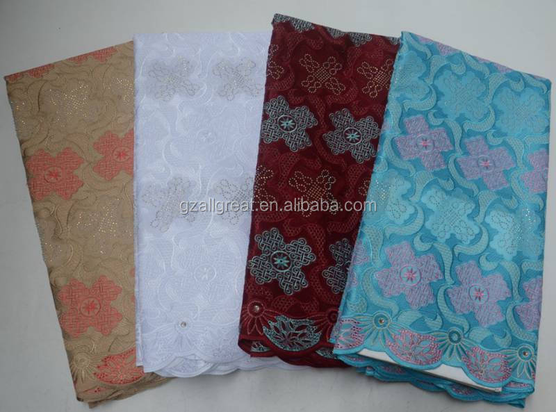 AG7190  Nigerian 100% Cotton Polish Embroidery Swiss Voile Net Lace Fabric In Switzerland