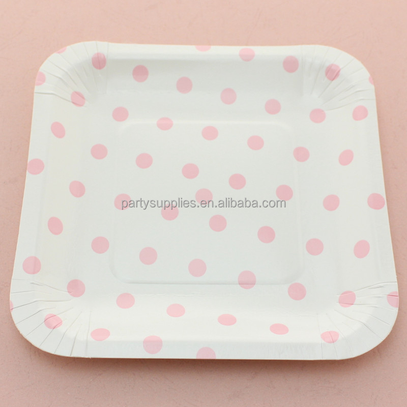 Disposable Polka dot Paper Plates Wedding Birthday Party Supplies Square Paper Plates