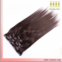 Fast shipping best selling natural color clip in remy hair extensions 7 piece