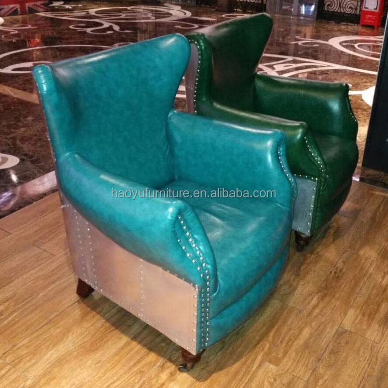 B011 1 Navy Blue Leather Sofa