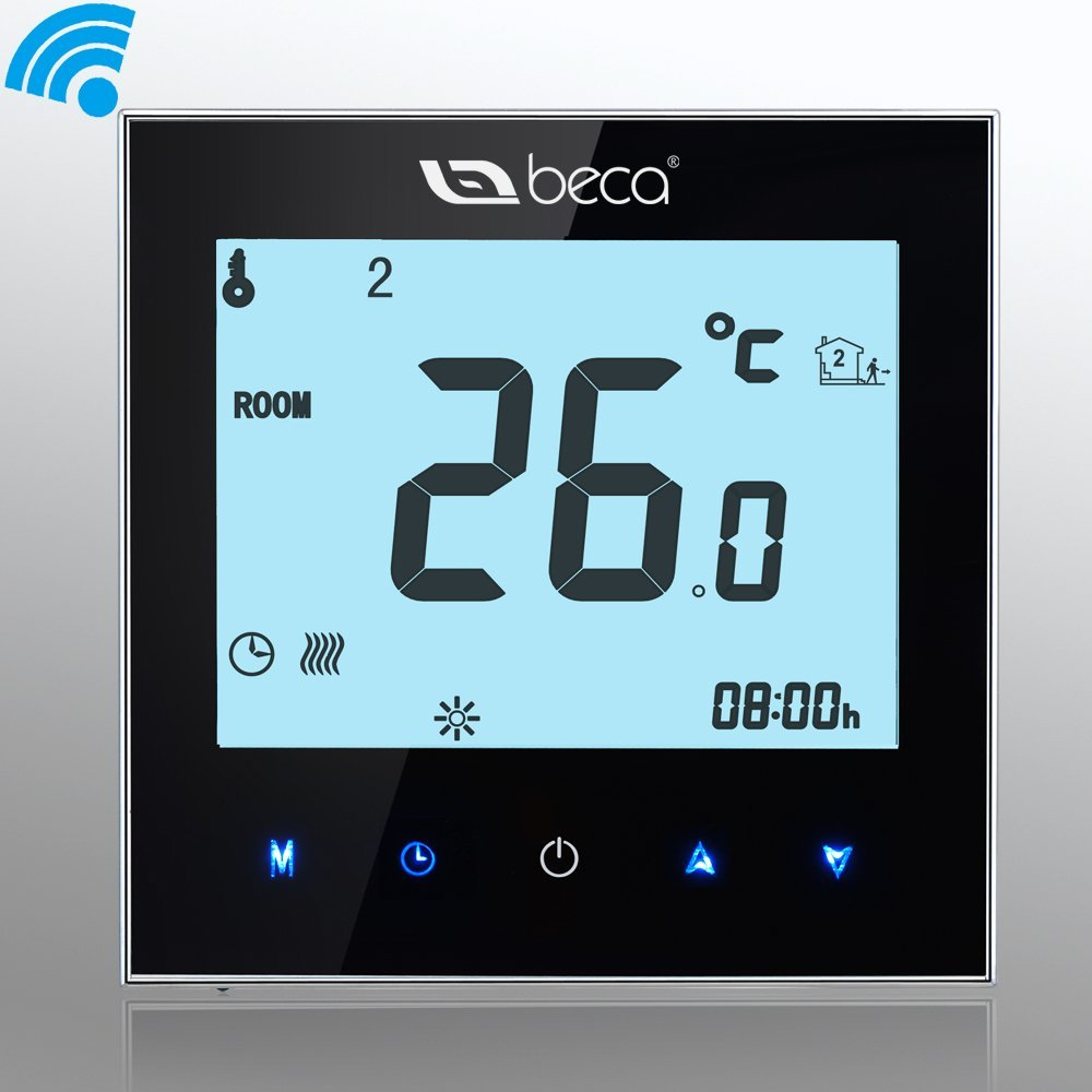 BECA 95~240VAC Data Memory Digital 5+2 six periods Weekly Programmable 3A Wi-Fi/Wifi/Smart/Internet/Network/Android/IOS Water/Gas Boiler Heating Room Thermostat (Black)