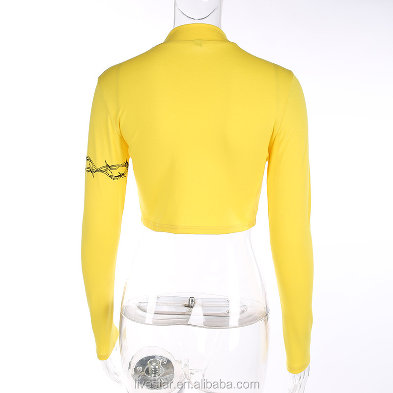 Cotton Turtleneck Knitted Women Autumn Fashion Letter Print Sweatshirt Knitted Yellow Crop Top Blouse Short Body T shirts