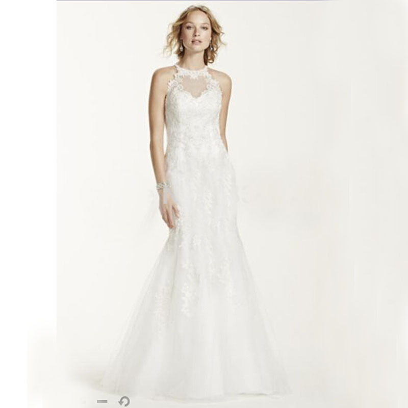 Lace Halter Wedding Gown: 2016 New Lace And Tulle Trumpet Gown With Illusion Halter