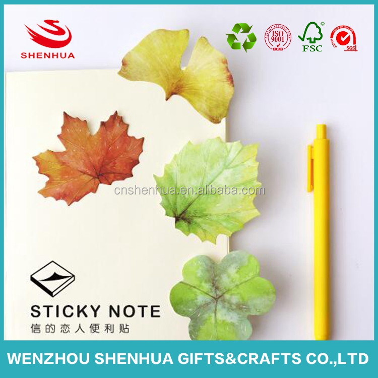 New design eco-friendly different leaf shaped sticky notes wholesale