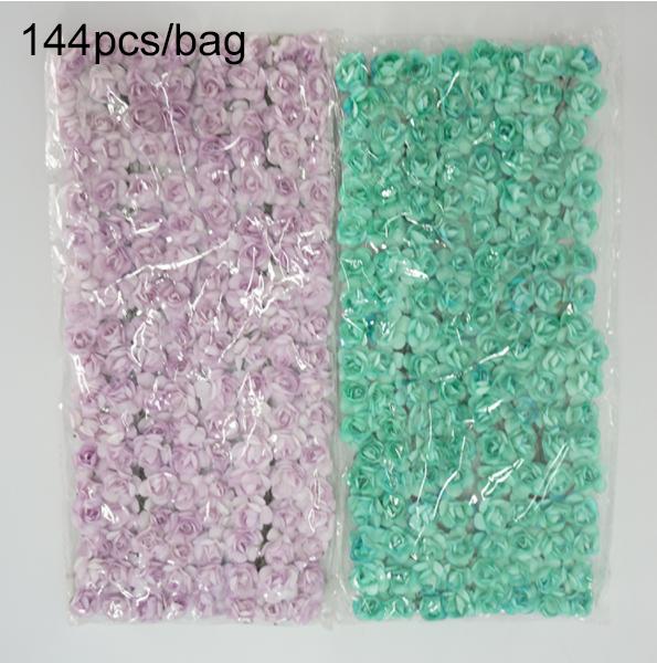 Amazon Venda Quente Colorido 144 PCS Mini Bonito Rosa DIY Scrapbook Paper Artificial Flor Artesanal Em Estoque