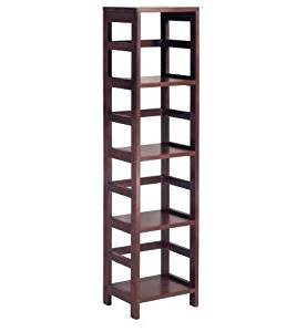 K&A Company 4-Shelf Narrow Storage Bookcase Shelf Tier New Shelves Wood Tower in Espresso