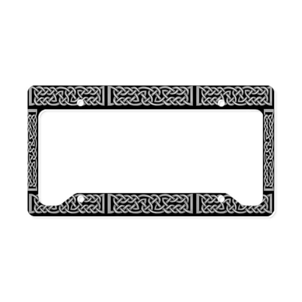 CafePress - Celtic Knot Gray License Plate Holder - Aluminum License Plate Frame, License Tag Holder