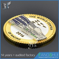 Custom die struck metal singapore souvenir coin