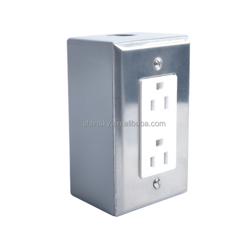 15A 125V 60hz wired decorator duplex receptacle with Protective cover,white with 2-Gang Weatherproof box