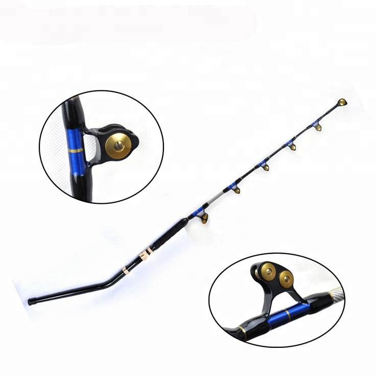 Big game rod fishing trolling rod 130lbs e-glass with bent butts Pacific Bay roller guide boat fishing rod, Customized