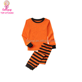 kids long sleeve sleepwear pyjamas sets orange and black stripes halloween boys cotton blank pajamas kids