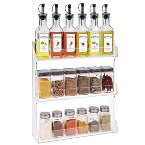 Wall Mounted Clear Acrylic Vertical Spice Storage Rack Storage Shelves, Lucite Kitchen Storage Holder