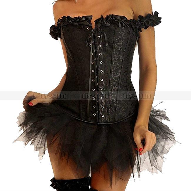 aad1b83c0a8 Get Quotations · Sexy Lady Black Embroidered Peasant Boned Corset Burlesque  Clubwear + Black TuTu Skirt S M L XL 2XL