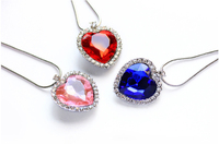 Statement Necklace, Heart of Ocean Crystal Fashion Necklace, My Love Heart Charm Pendant Necklace Diamond Jewelry 510291