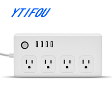 4 USB Automation WiFi Smart Power Socket,/Smart Power /Surge Protector 4 Outlets Works with Amazon Alexa Control by Android/ IOS