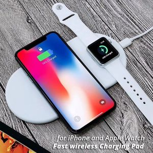 OEM Double 2 in 1 Smart Qi Wireless Fast Charge Pad for iPhone Apple Watch for telephone smartphone