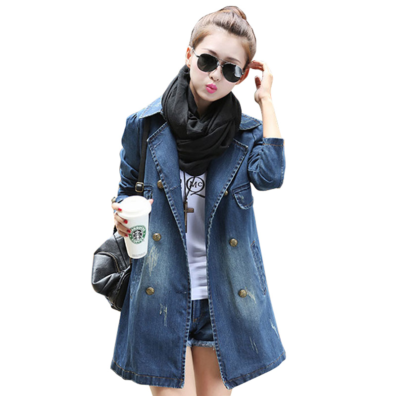 2a8405dc3bb Get Quotations · 2015 Autumn Winter Trench Coat Women Europe Demin Cardigan  Women Casaco Feminino Blue Vintage Windbreaker Female