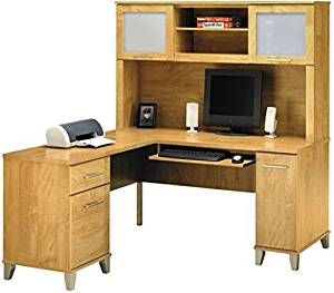 "Bush L Shaped Desk W/Hutch Desk: 59 1/8""W X 59 1/8""D X 29 1/4""H Hutch: 35 3/4""H X 59 1/8""W X 13 3/4""D - Maple Cross"