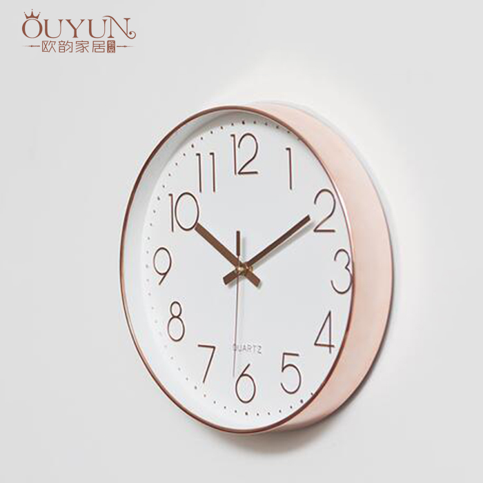 2017 high quality 12 inch modern simple roes gold round shape decorative wall clock