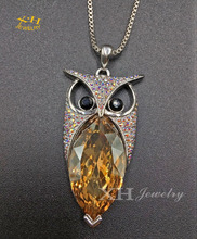 2017 hot sale woman fashion jewelry cute owl brass pendant Austria crystal necklace silver plated chain ]