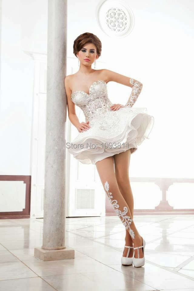 Free Shipping Short Wedding Dresses 2015 A Line Wedding Dresses Middle East Arabic Dubai Bridal Gowns