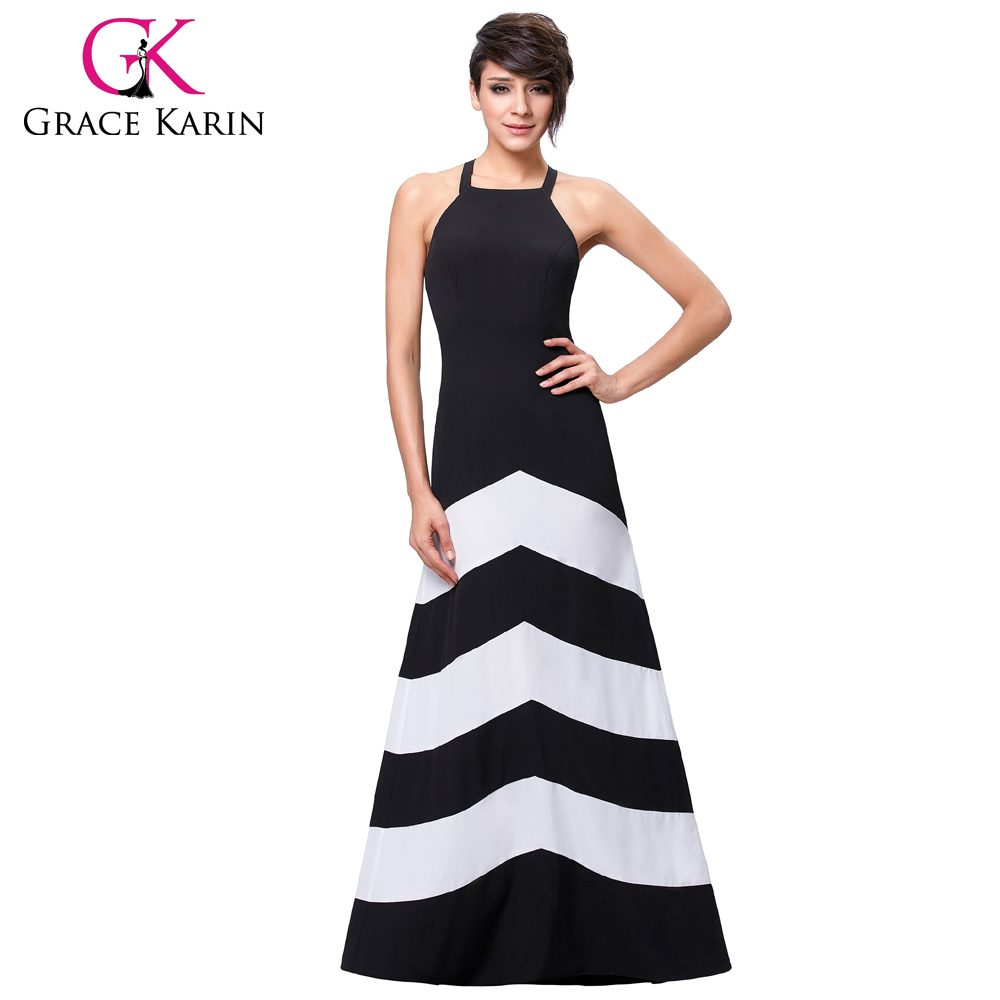 Grace Karin Sexy Women Halter Summer Black And White Wide Stripe Long Maxi Casual Dress Beach Dress CL008932-1