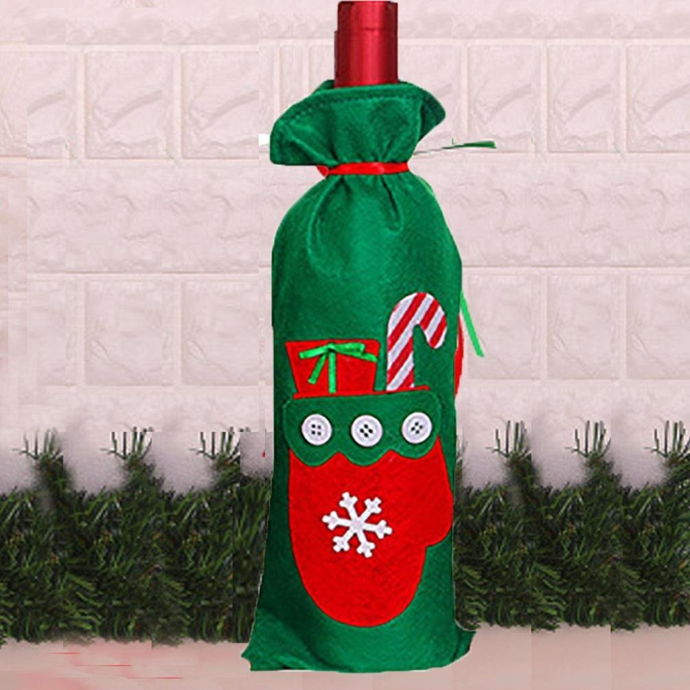 Iuhan Merry Christmas Tree Red Wine Bottle Cover Bags Decoration Home Party Santa Claus (A)