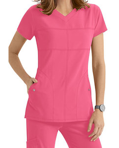 New style standard textile fabric Europe Wonderwink 2 Pocket Soft V-neck Scrub Tops for nurse
