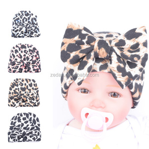 Top End Baby Warm Hat Leopard Print Flanging Cap Baby Hat With A Big Bowknot
