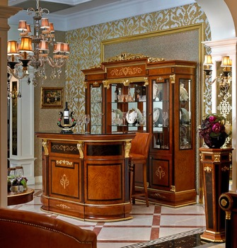 YB38 French Style Baroque Home Bar Furniture/European Classic Mini Bar/Wooden  Hand Carved
