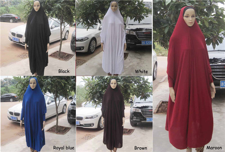 Islamic ladies wearing long prayer dress hijab Long cover tudung Muslim instant hijab