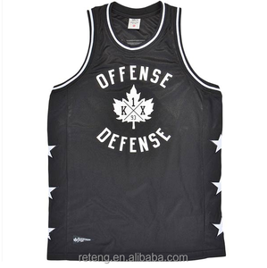 Newest 100% polyester quick dry mens stringer pullover Basketball jersey tank top with printed for gym sports