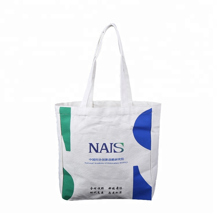 Wholesale Promotion Reusable Organic long shoulder belt canvas custom printed cotton shopping tote bag canvas tote bag