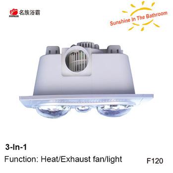 2 Bulb Fan Heater Bath Bathroom Shower Bathtub Small