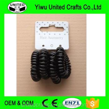 4 X Black Small Telephone Coiled Cord Scrunchie Hair Elastics Band  Elasticated - Buy Flat Elastic Hair Band 049c9bdae83