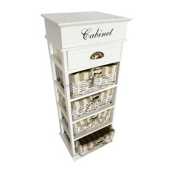 5 Drawer Storage Unit Wood Wicker Tower Bins Cabinet Baskets Shelves  Organizer
