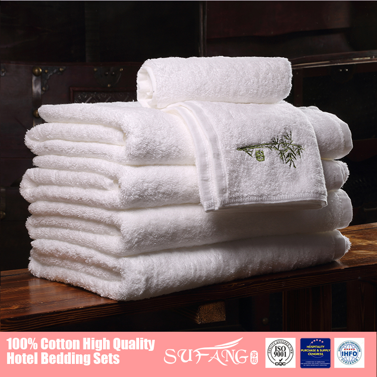 Theme hotel quick dry bamboo embroidery towel with plain woven