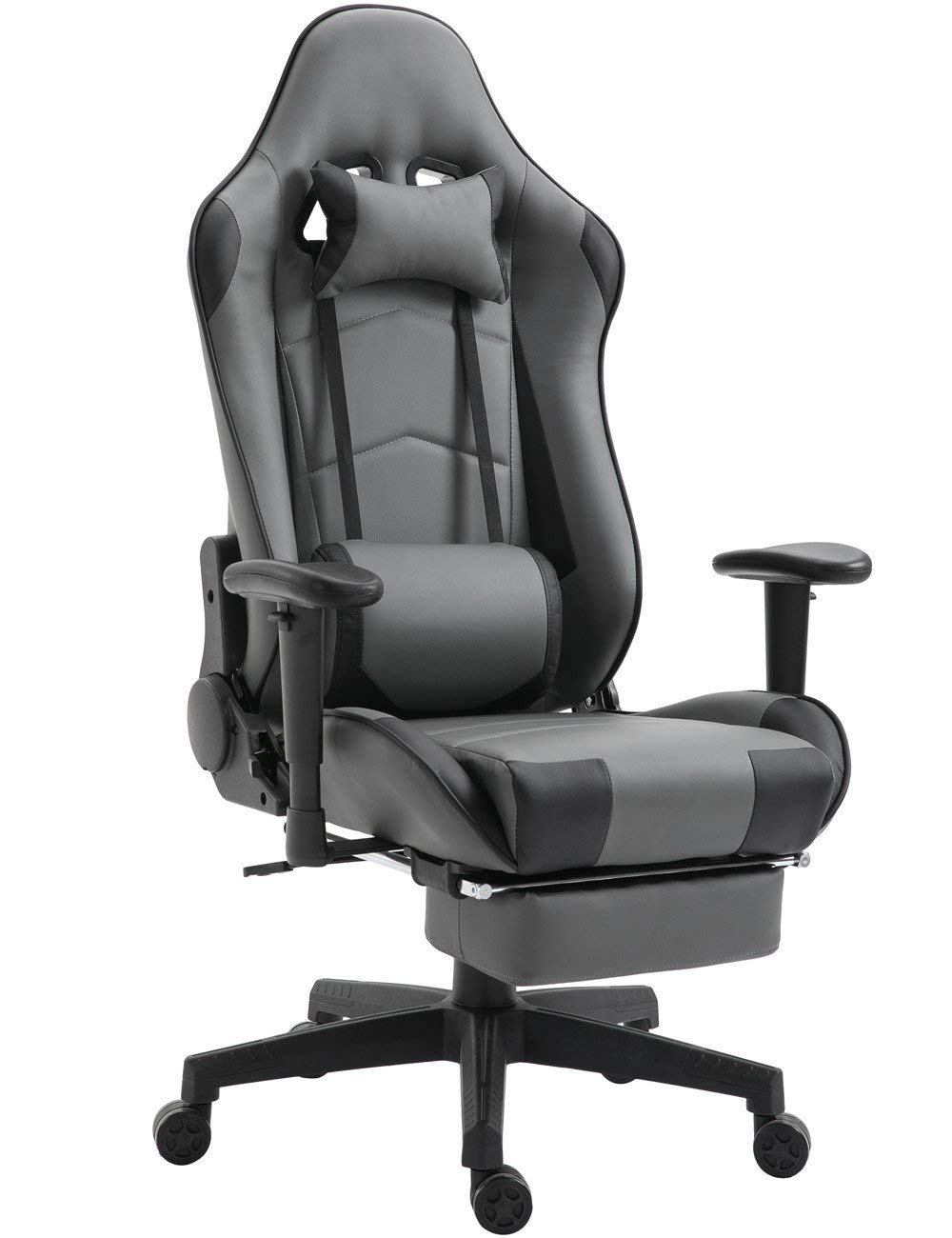 Gaming Chair High Back Ergonomic Racing Chair with Footrest Adjustable Height Swivel Office Chair with Headrest Lumbar Support (Grey/Black)