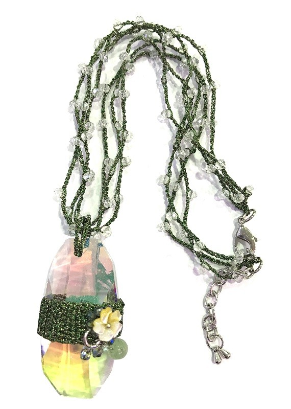 Fashion Bohemian Green Crochet Beaded Crystal Necklace