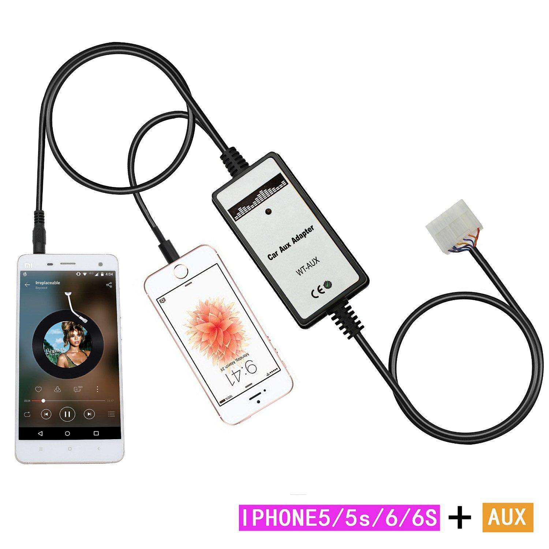 Aux interface ,Yomikoo iPhone5/AUX MP3 Radio Adapter Audio Car Digital Music Cd Changer 3.5mm Interface for Toyota (5+7)Pin 1998-2002 Corolla 1994-2003 RAV4 1999-2005 Yaris Lexus GS300/GS400 2001-2003