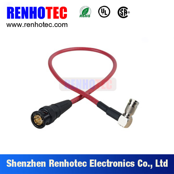 black color plastic bnc male to din 1.0/2.3 right angle connector rg179 cable