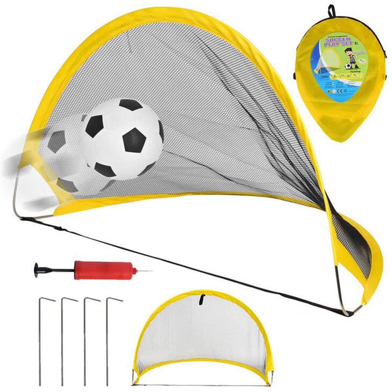 5b390feb1 NiGHT LiONS TECH 26.7 inch Collapsible Soccer Goal Set of 2 with Travel Bag  - Soccer Training Nets Ultra Portable Pop Up Football Goal Nets for Indoor  ...